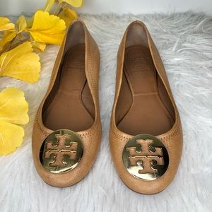 Tory Burch Ballet Flats Tan Gold Size 6.5 Medium